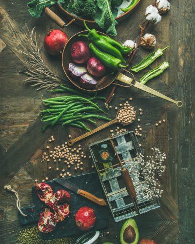 Winter vegetarian or vegan food cooking ingredients, top view